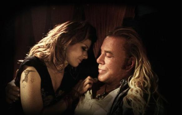 Marisa Tomei and Mickey Rourke share a tender moment.