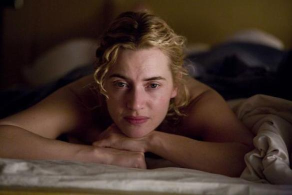 Kate Winslet ponders on just what Leonardo di Caprio is doing at that moment.