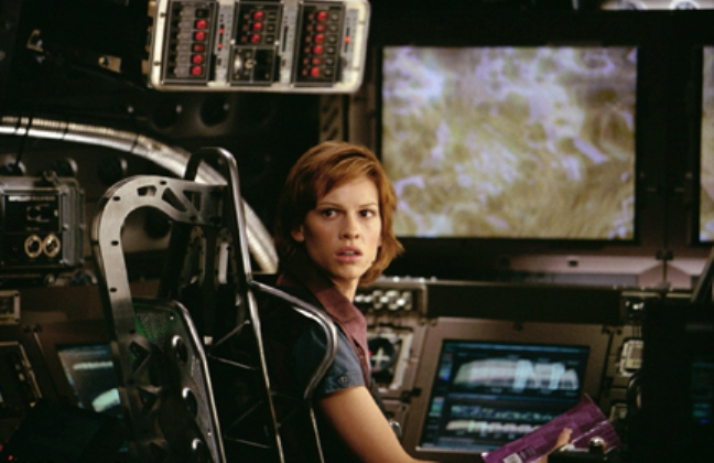 Hillary Swank suddenly realizes  there will be no Oscar nominations for this one.