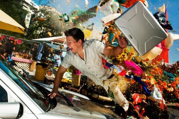 Mark Wahlberg is surrounded by chaos.