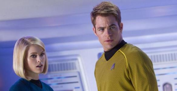 Alice Eve and Chris Pine try to out-blonde each other.