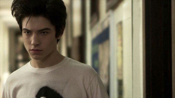 Ezra Miller is having a bad hair day.