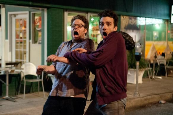 Seth Rogen and Jay Baruchel discover that The World's End is opening after their film.