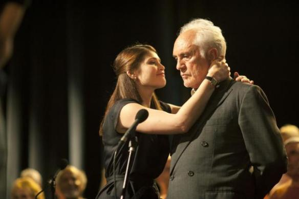 Terence Stamp is perturbed that Gemma Arterton refuses to kneel before Zod.