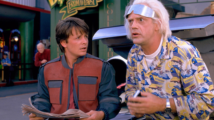 Michael J. Fox and Christopher Lloyd can't believe what's in the script.