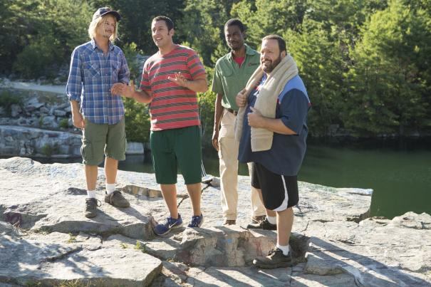 Adam Sandler tries to convince a mob of angry critics not to throw him and his friends over the cliff.