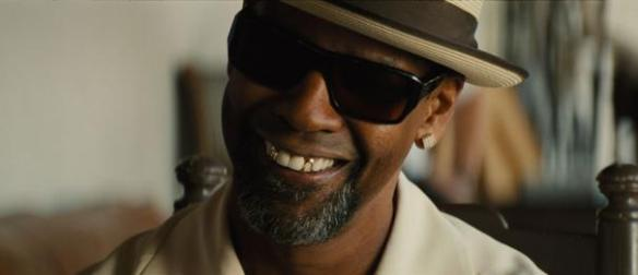 Denzel Washington can smile because his name comes first in the credits.