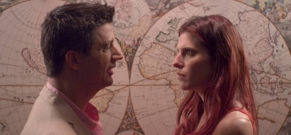 Fred Marino offers a skeptical Lake Bell the world.