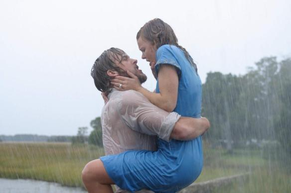 What could be more romantic than a couple reuniting in the rain?