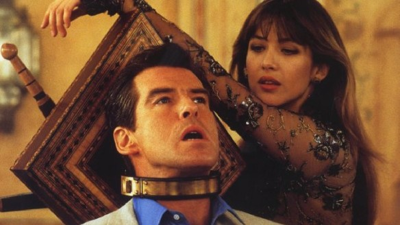 Sophie Marceau thinks Pierce Brosnan looks fetching in this choker.