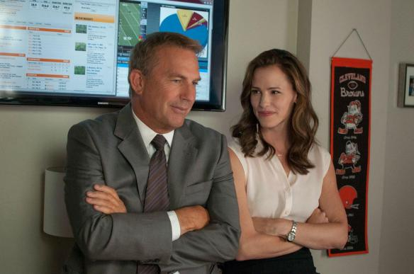 Jennifer Garner looks on as Kevin Costner practices his bemused expression.