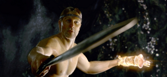 If I saw Angelina Jolie rising naked out of a cave pool, I'd draw my sword too - but it would likely be a different sword.