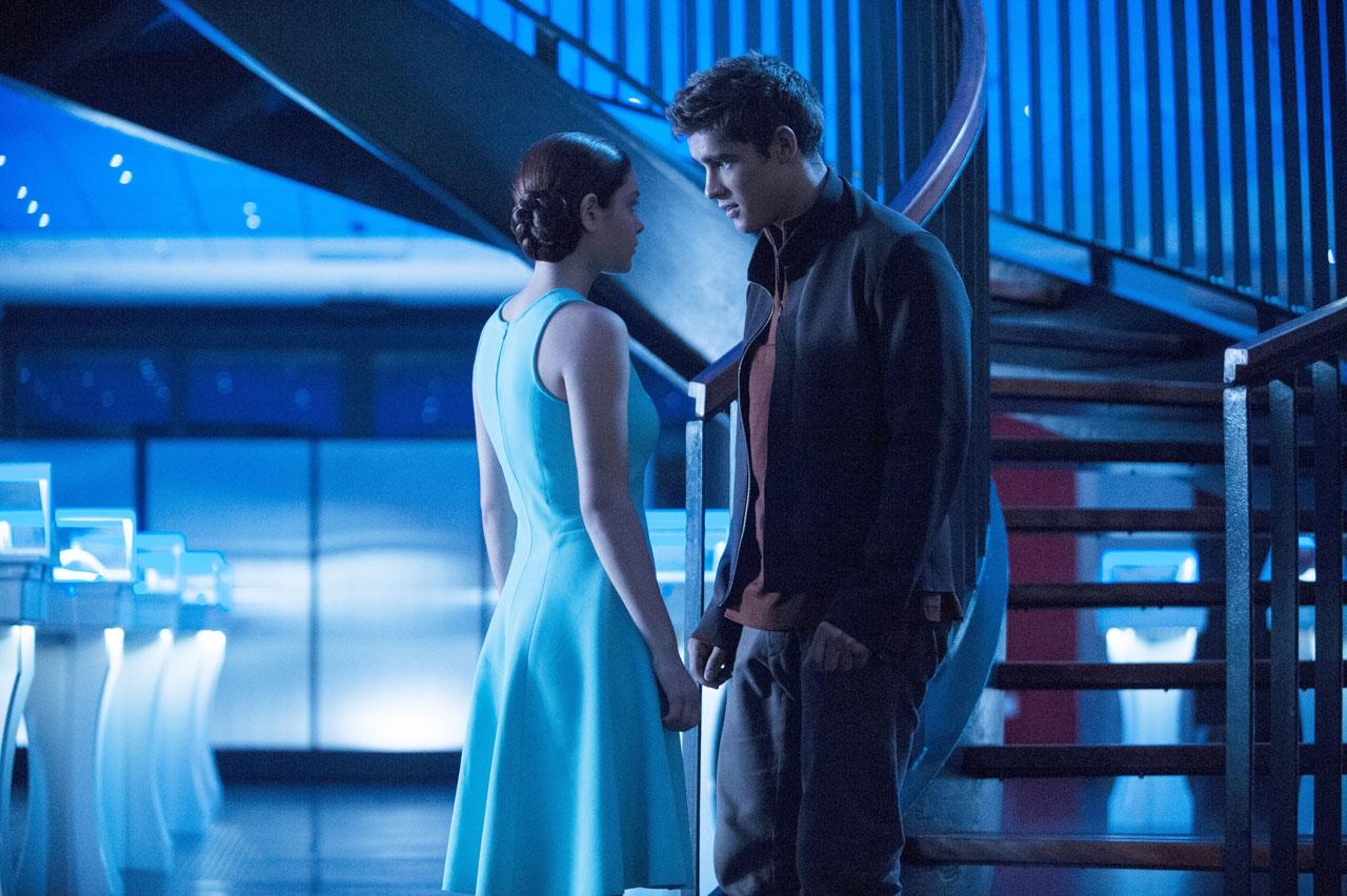 A cool blue young adult sci-fi romance scene.