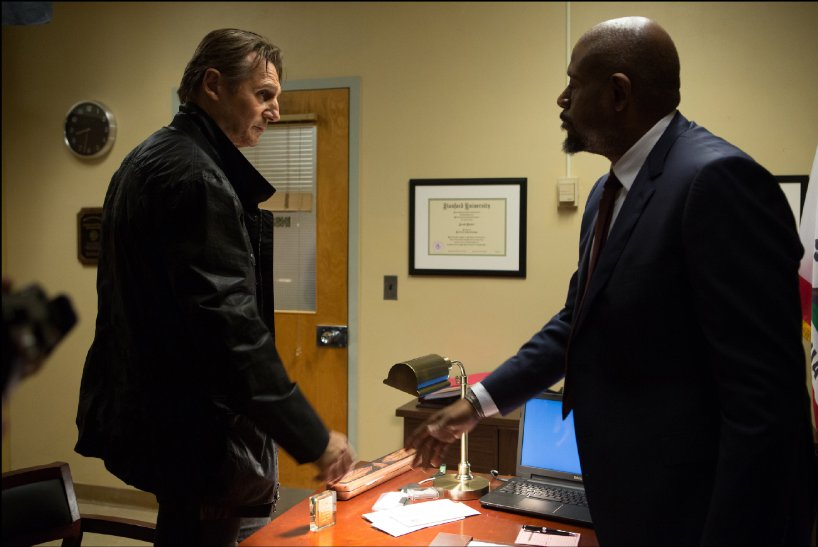Liam Neeson manages to keep a straight face while reassuring Forest Whitaker his beard looks okay.