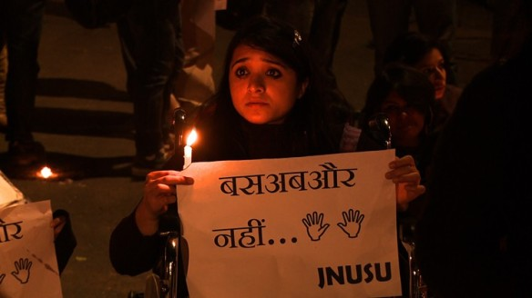 Protesters stand up for women's rights in India - even when they can't stand.