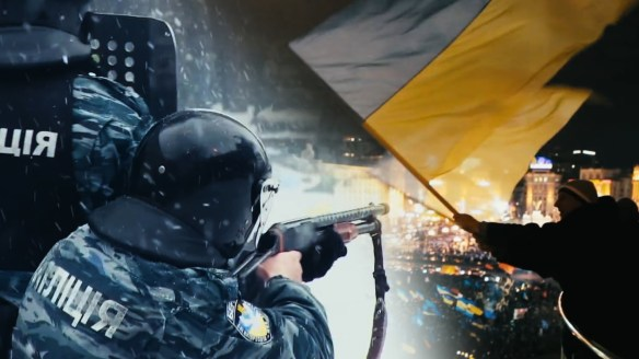 Ukrainian police fire on unarmed protesters.