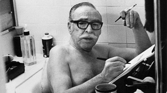 Bath time is work time for Dalton Trumbo.