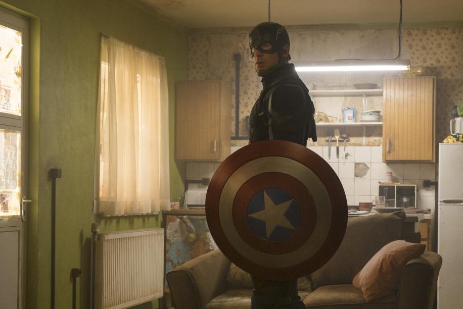 Captain America in an All-American studio apartment.