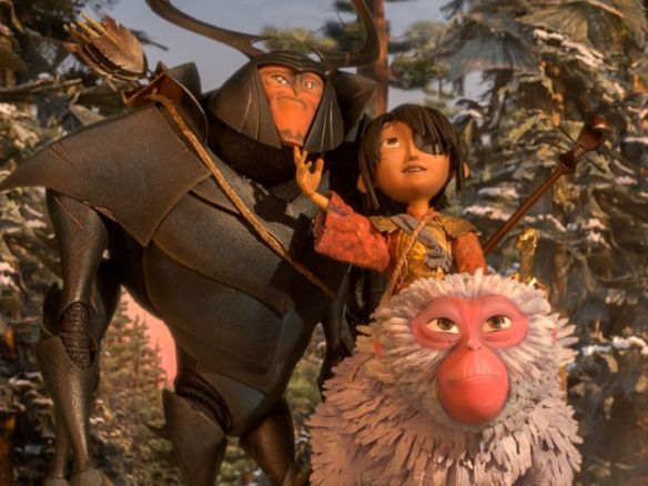 Beetle, Kubo and Monkey on a quest for armor or at least an audience.