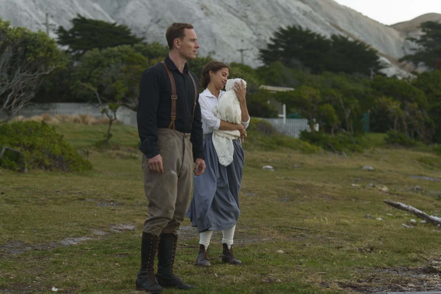 Alicia Vikander may look content but Michael Fassbender sees trouble on the horizon.