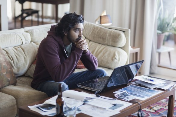 Dev Patel contemplates the blue screen of death.