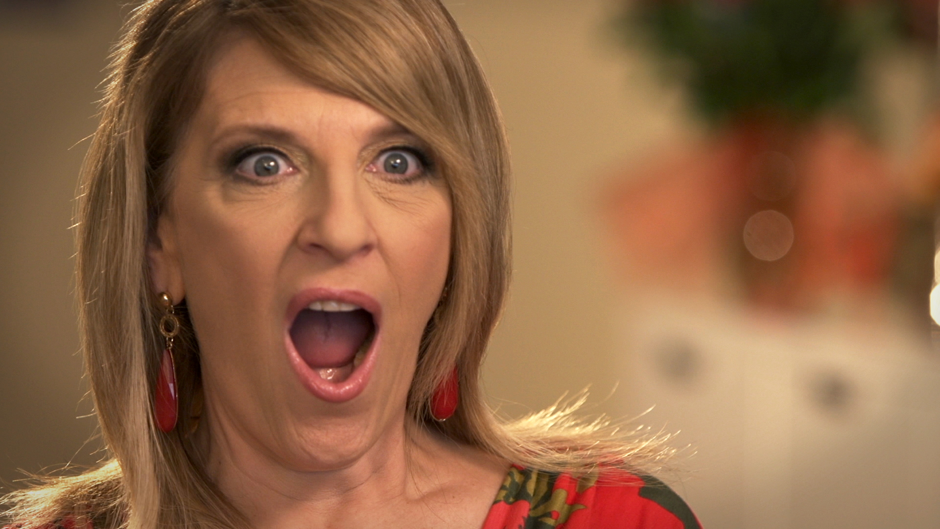 Lisa Lampinelli reacts to finding Christmas displays up in March at Wal-Mart.